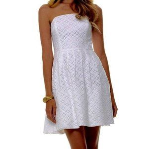 Lilly Pulitzer Caitlin White Strapless Dress 6